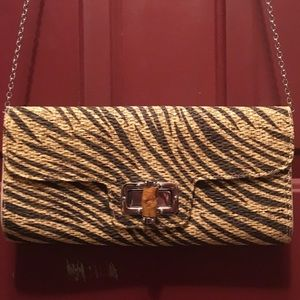 Natural Tone Zebra Clutch